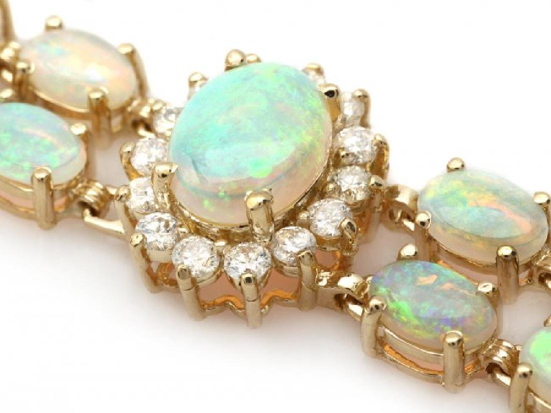 14k Gold 12.5ct Opal 1.75ct Diamond Bracelet - 2