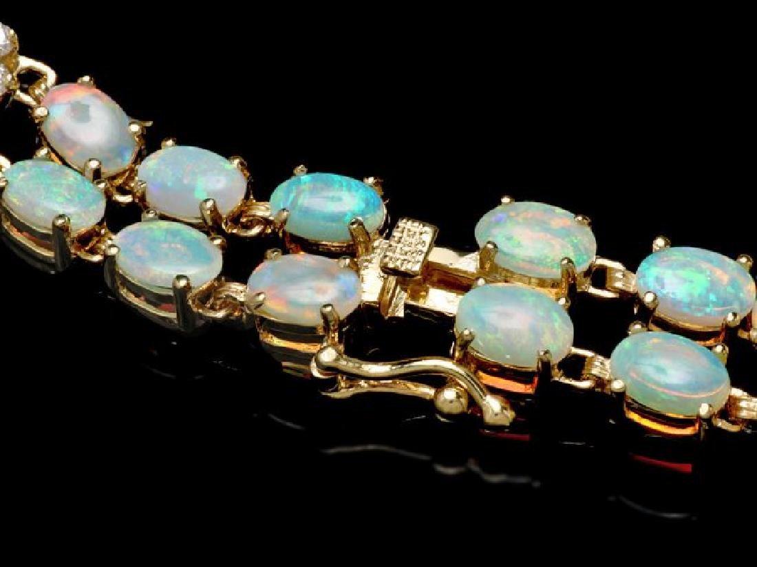 14k Gold 12.5ct Opal 1.75ct Diamond Bracelet - 3
