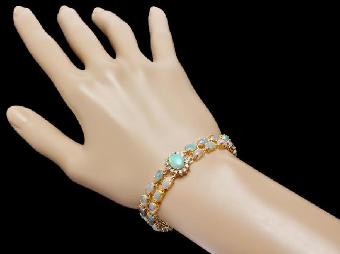 14k Gold 12.5ct Opal 1.75ct Diamond Bracelet - 4