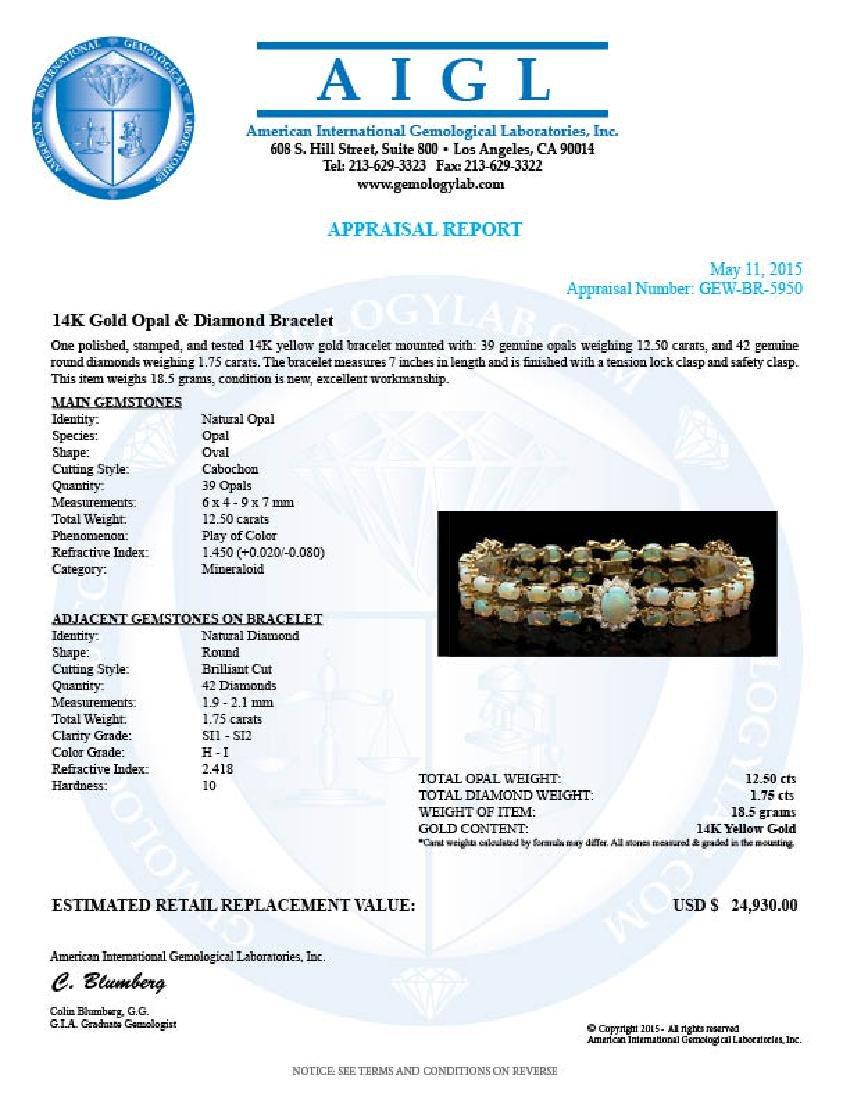 14k Gold 12.5ct Opal 1.75ct Diamond Bracelet - 6