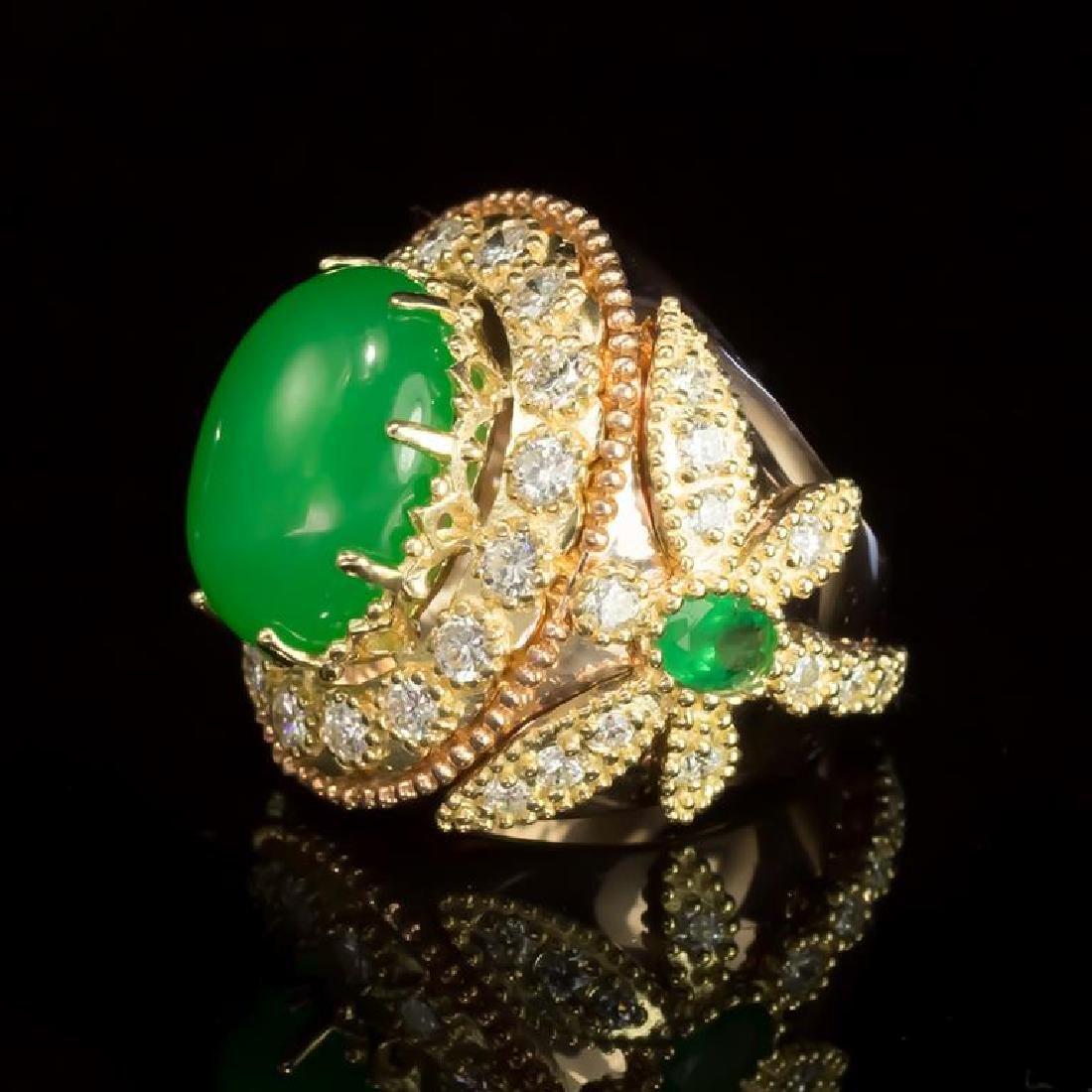 14K Gold 9.02ct Jadeite, 1.05ct Emerald 2.35ct Diamond - 2
