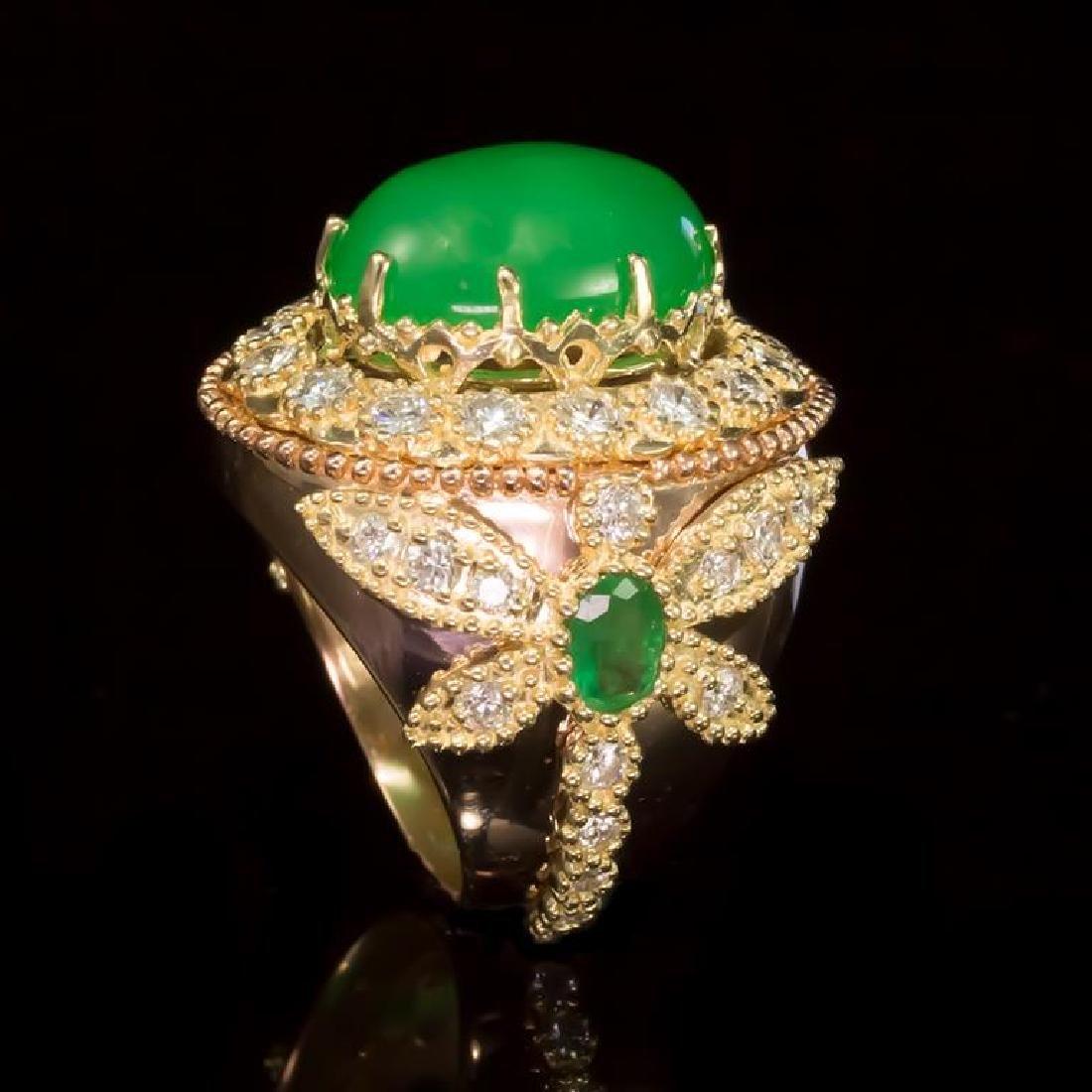 14K Gold 9.02ct Jadeite, 1.05ct Emerald 2.35ct Diamond - 3