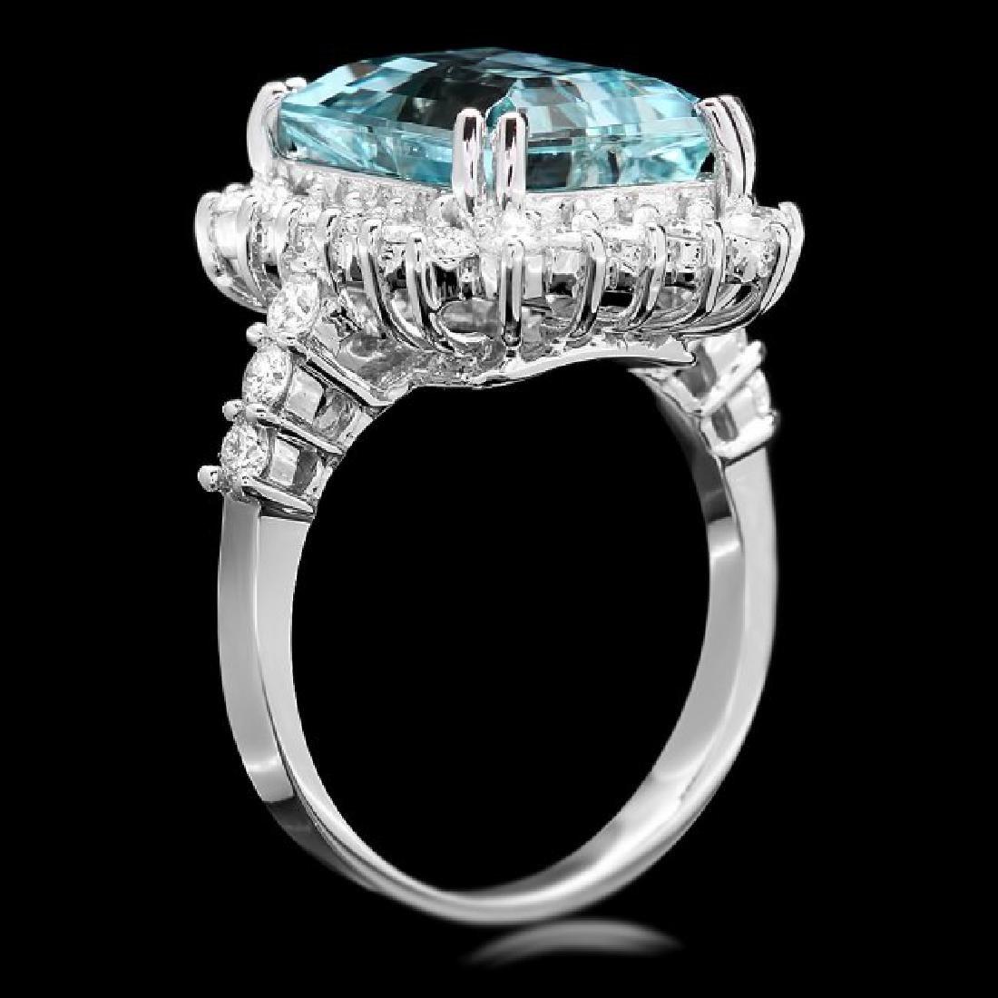 14k Gold 6.50ct Aquamarine 1.00ct Diamond Ring - 3