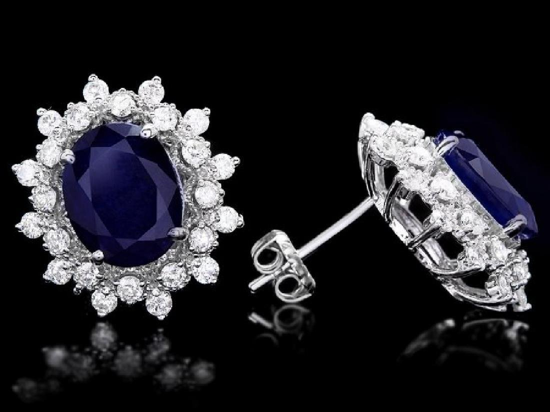 14k Gold 7ct Sapphire 1.25ct Diamond Earrings - 3
