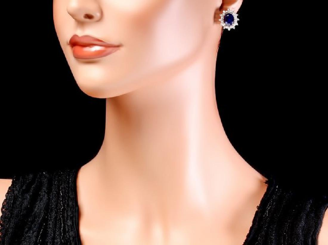 14k Gold 7ct Sapphire 1.25ct Diamond Earrings - 4