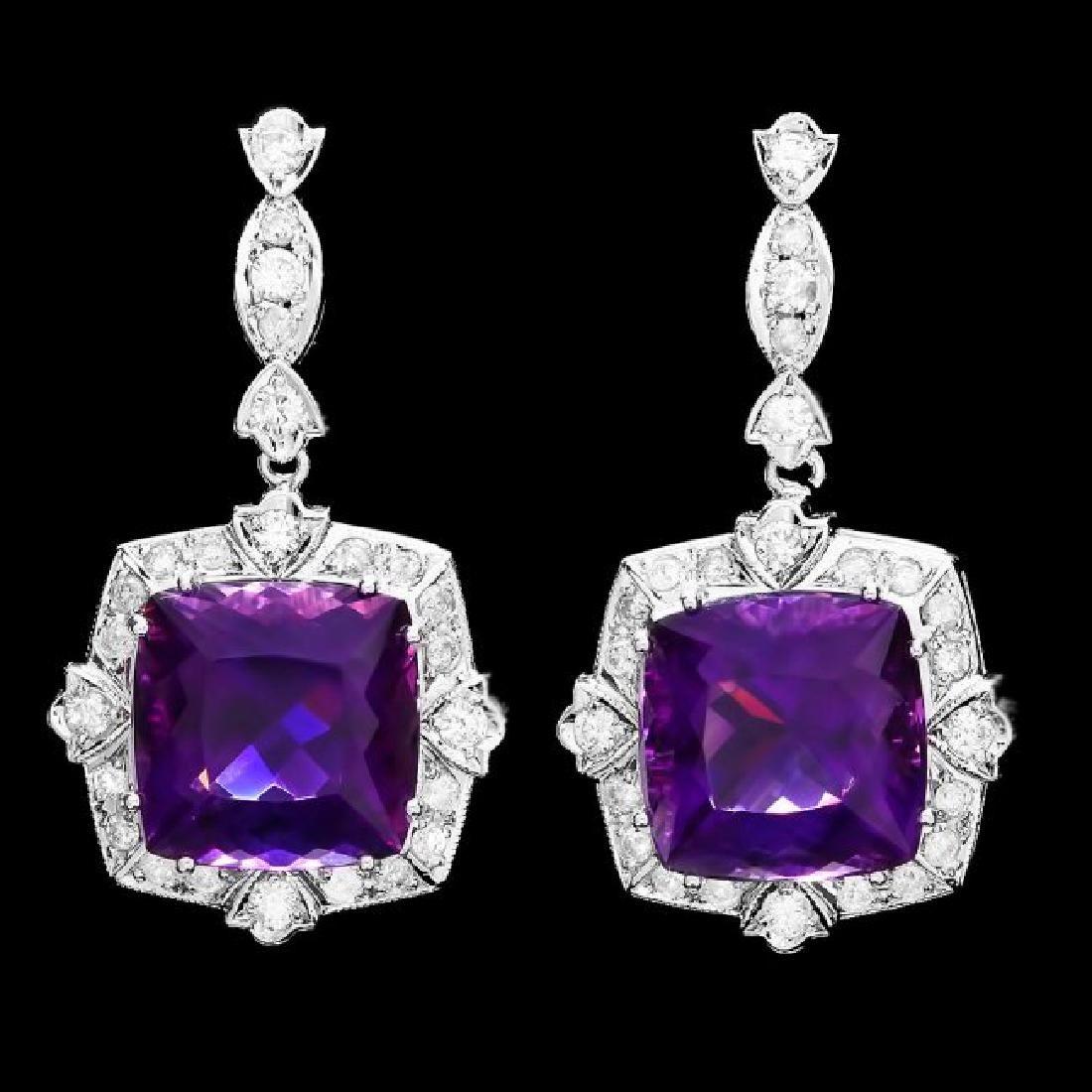 14k Gold 24ct Amethyst 1.85ct Diamond Earrings