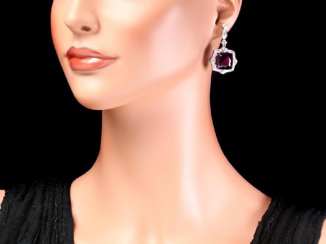 14k Gold 24ct Amethyst 1.85ct Diamond Earrings - 4