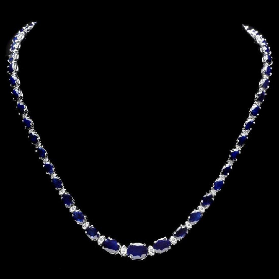14k Gold 30ct Sapphire 1.35ct Diamond Necklace