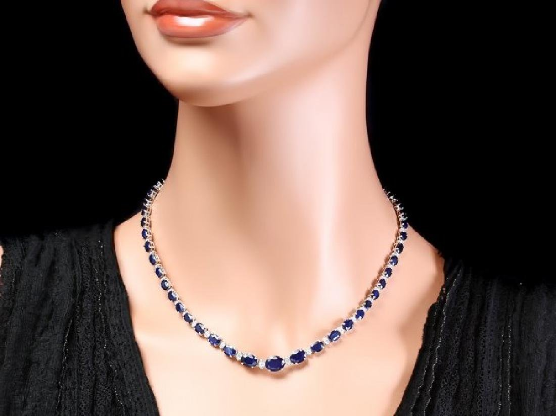 14k Gold 30ct Sapphire 1.35ct Diamond Necklace - 2