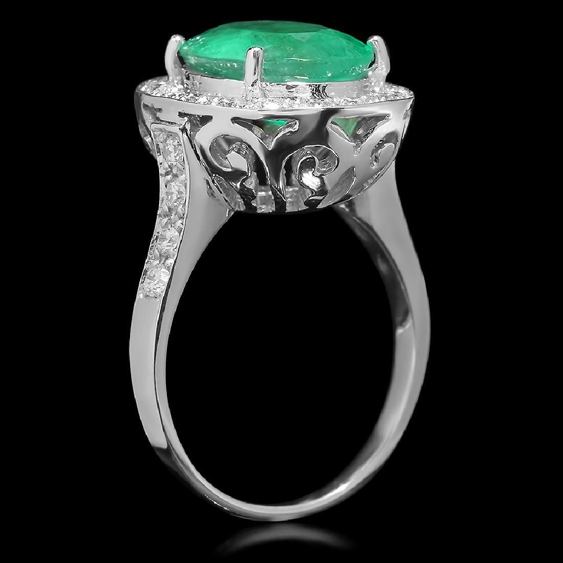 14K Gold 3.50ct Emerald 0.70ct Diamond Ring - 2
