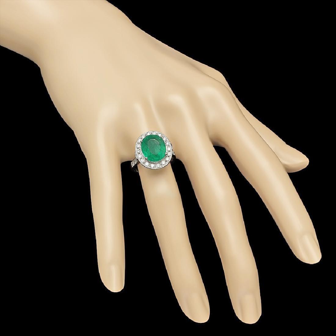 14K Gold 3.50ct Emerald 0.70ct Diamond Ring - 4