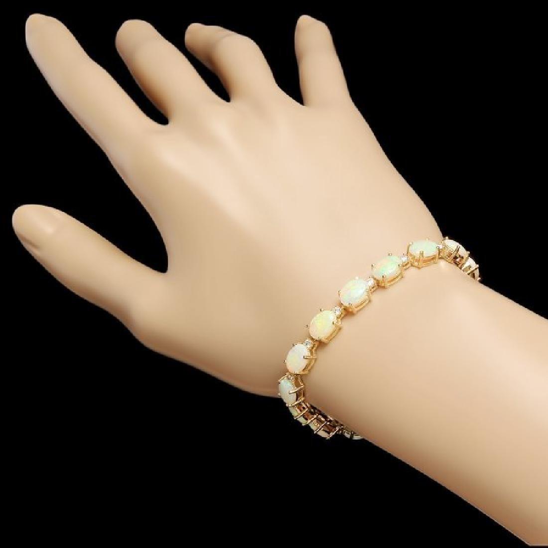 14k Gold 15.00ct Opal 0.75ct Diamond Bracelet - 3