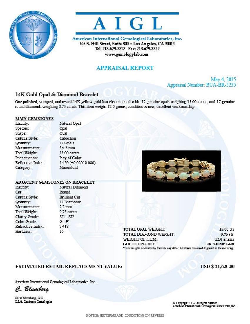 14k Gold 15.00ct Opal 0.75ct Diamond Bracelet - 4