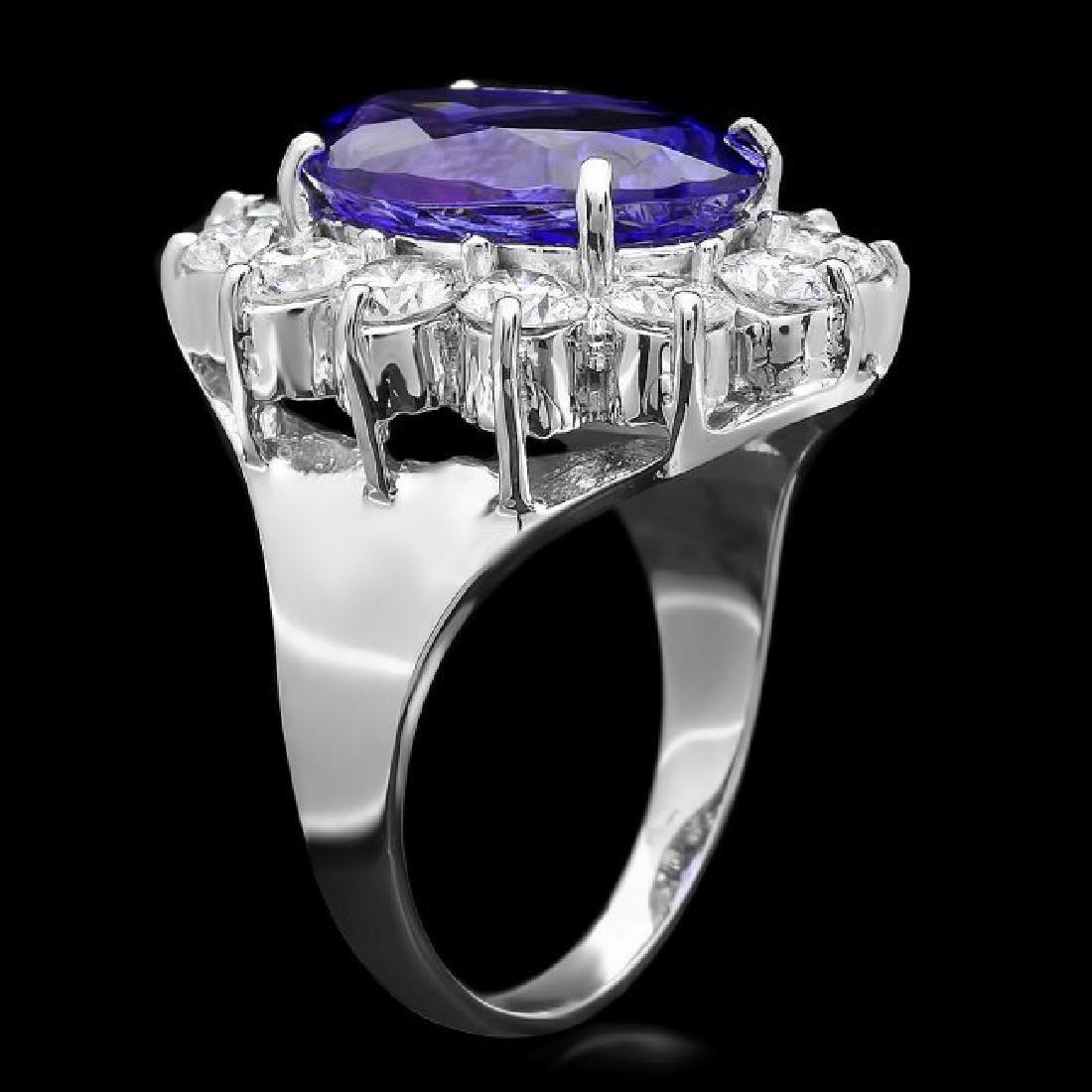 18k White Gold 5.20ct Tanzanite 2ct Diamond Ring - 2