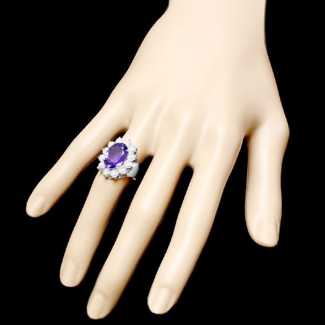 18k White Gold 5.20ct Tanzanite 2ct Diamond Ring - 3