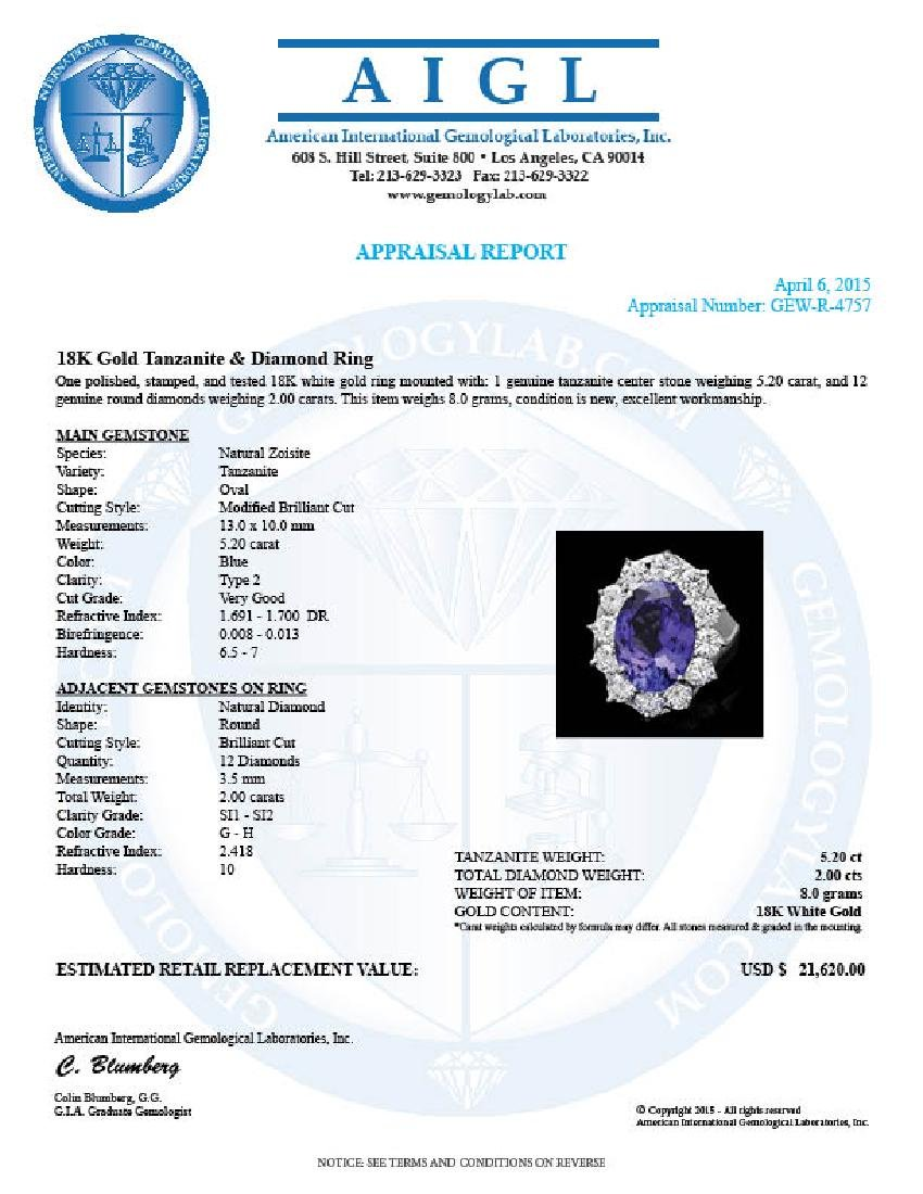 18k White Gold 5.20ct Tanzanite 2ct Diamond Ring - 4