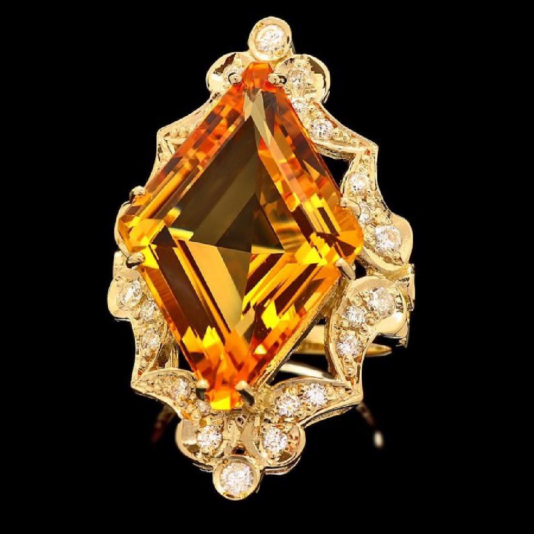 14k Gold 16.00ct Citrine 1.00ct Diamond Ring