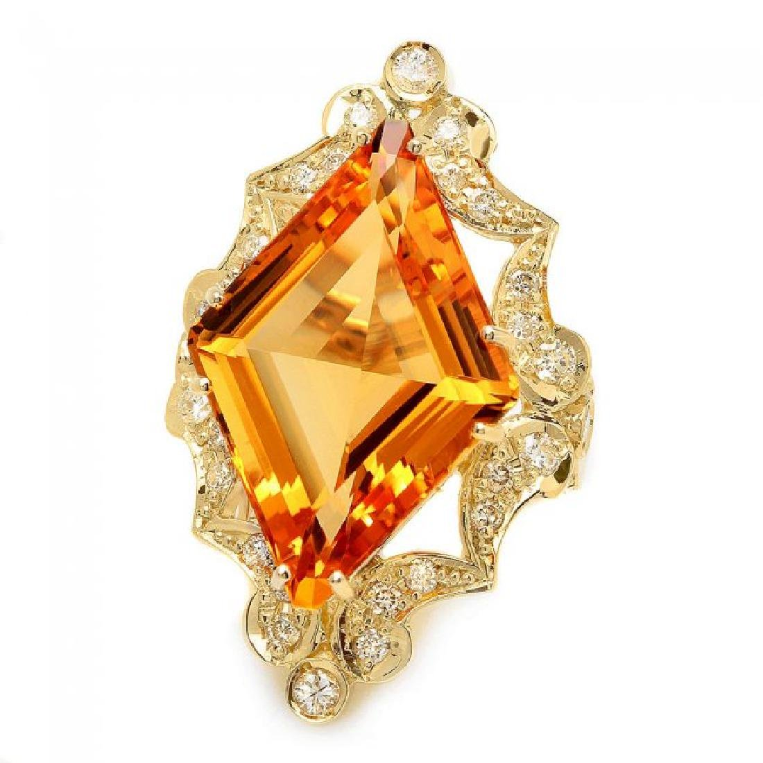14k Gold 16.00ct Citrine 1.00ct Diamond Ring - 2