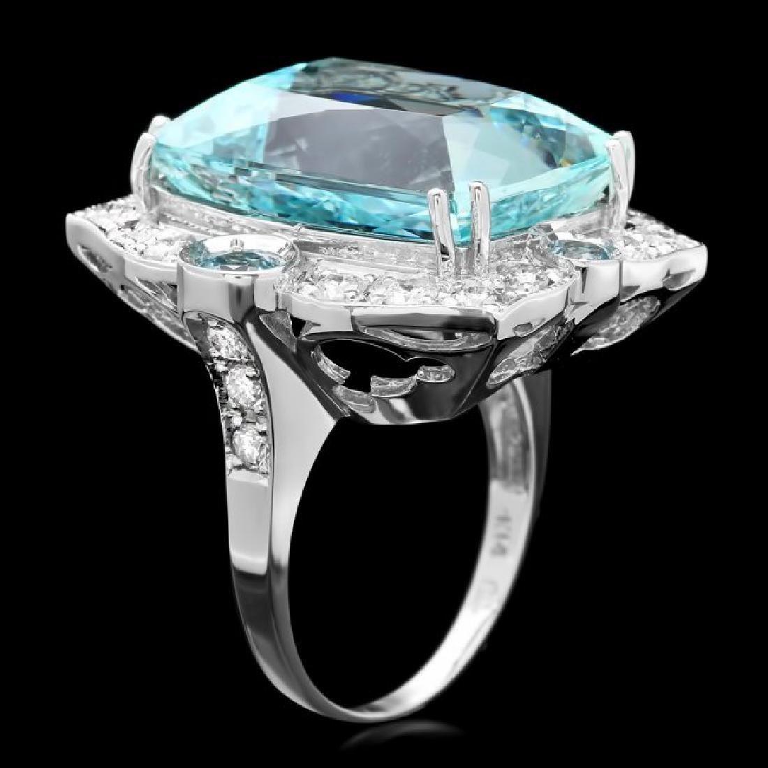 14k Gold 22ct Aquamarine 1.35ct Diamond Ring - 3