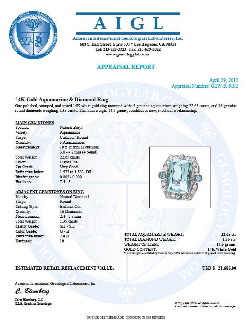 14k Gold 22ct Aquamarine 1.35ct Diamond Ring - 5