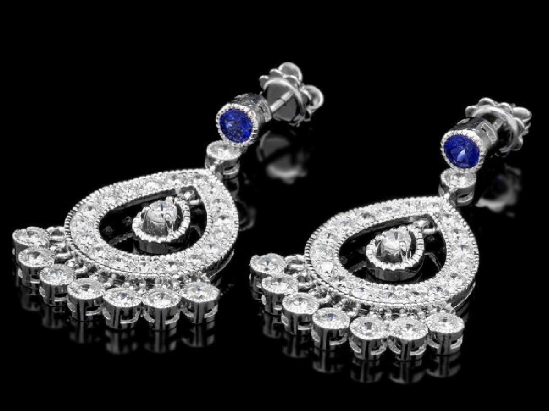 14k Gold 3ct Diamond 0.70ct Sapphire Earrings - 2