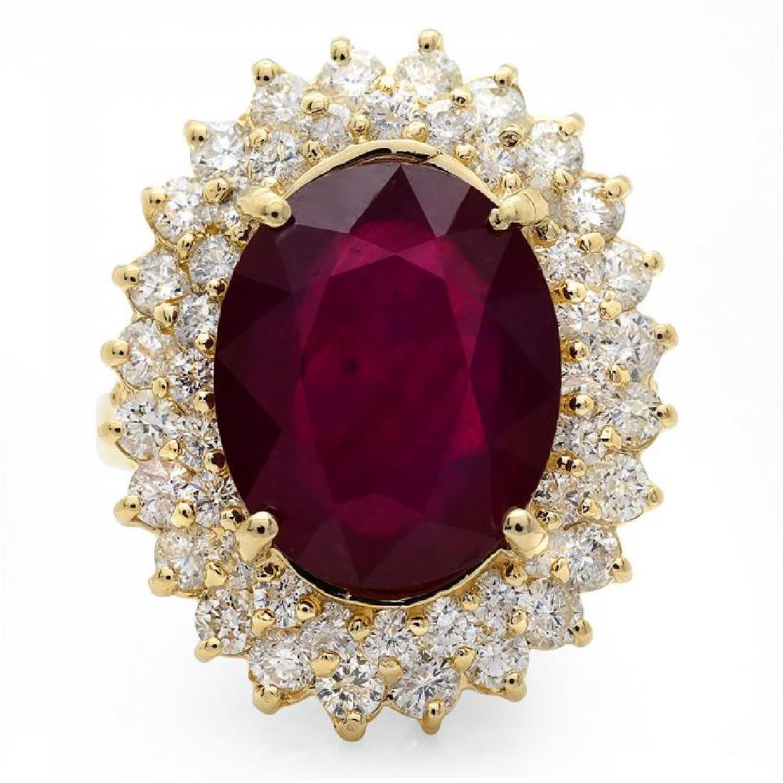 14k Yellow Gold 10.00ct Ruby 2.10ct Diamond Ring - 2