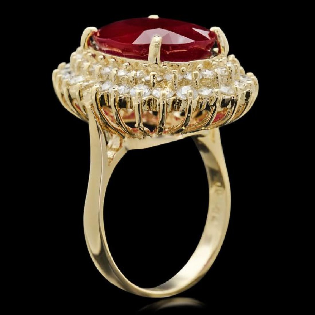 14k Yellow Gold 10.00ct Ruby 2.10ct Diamond Ring - 3