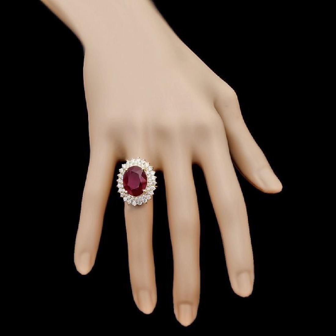 14k Yellow Gold 10.00ct Ruby 2.10ct Diamond Ring - 4