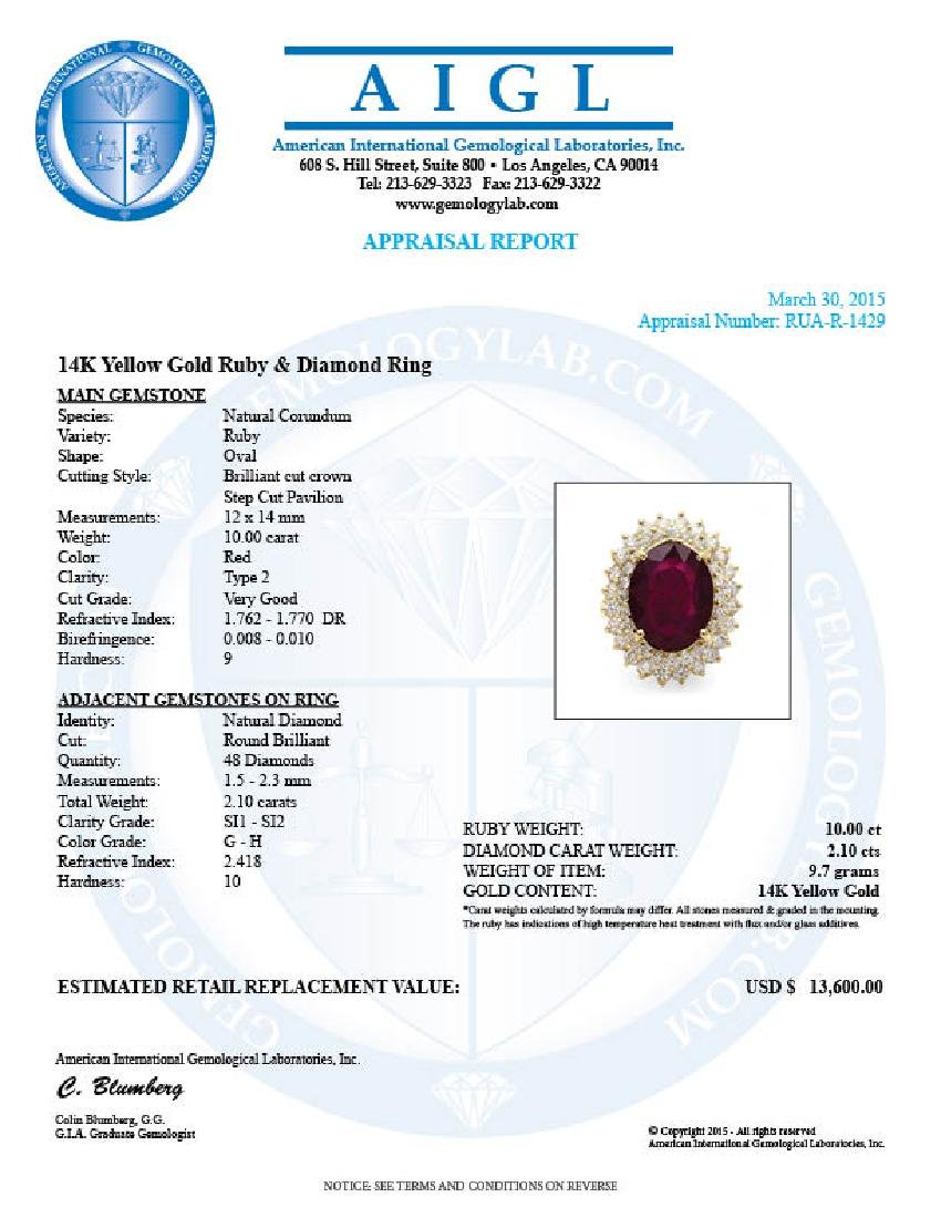 14k Yellow Gold 10.00ct Ruby 2.10ct Diamond Ring - 5