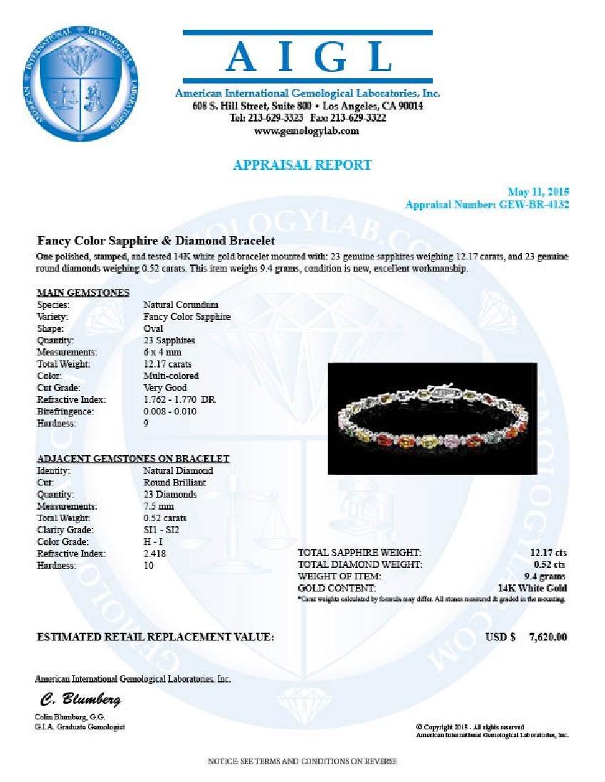 14k Gold 12.17ct Sapphire 0.52ct Diamond Bracelet - 7
