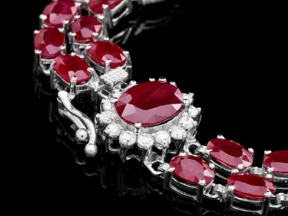 14k White Gold 28ct Ruby 0.50ct Diamond Bracelet