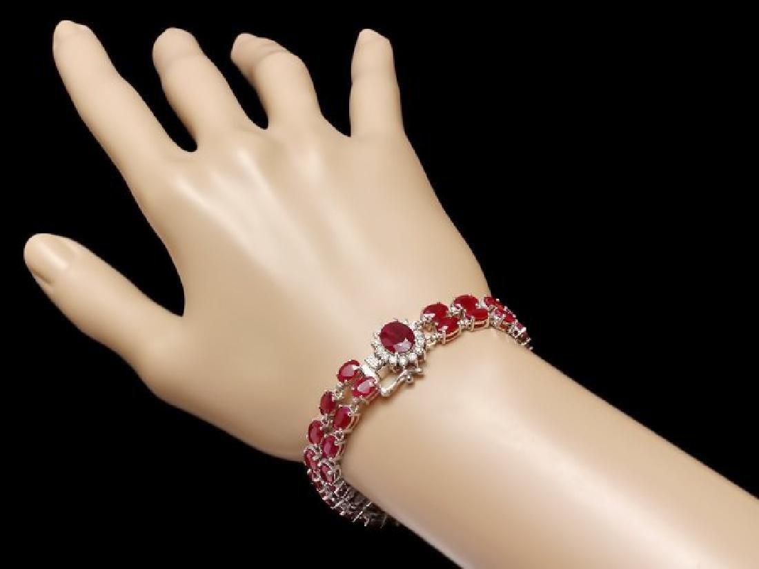 14k White Gold 28ct Ruby 0.50ct Diamond Bracelet - 3