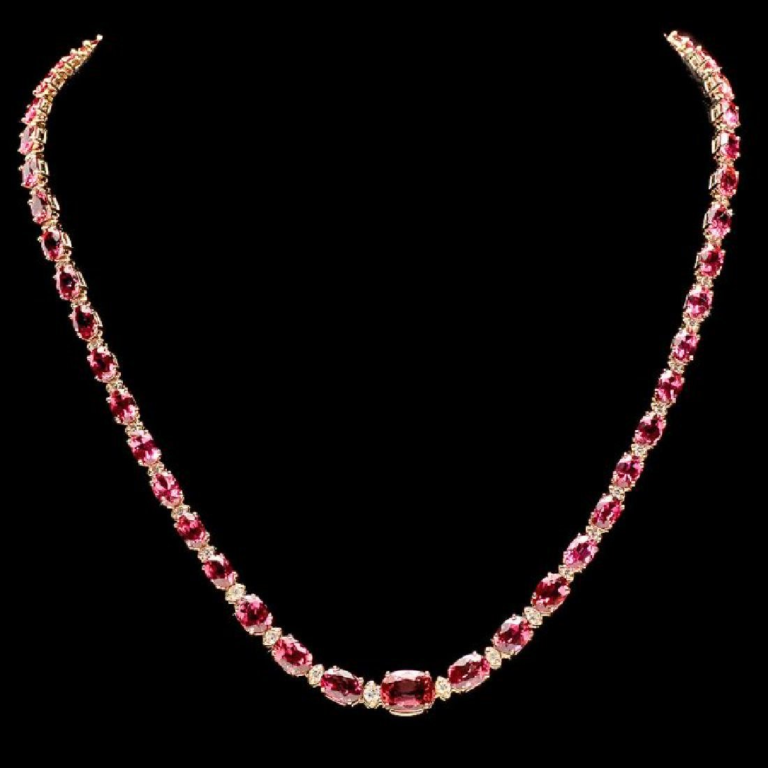14k 26.10ct Tourmaline 1.60ct Diamond Necklace