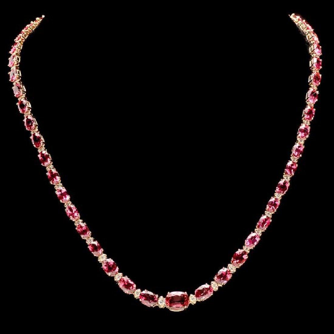 14k 26.10ct Tourmaline 1.60ct Diamond Necklace