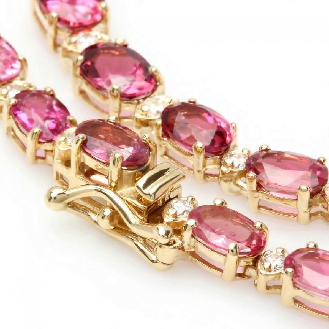 14k 26.10ct Tourmaline 1.60ct Diamond Necklace - 2