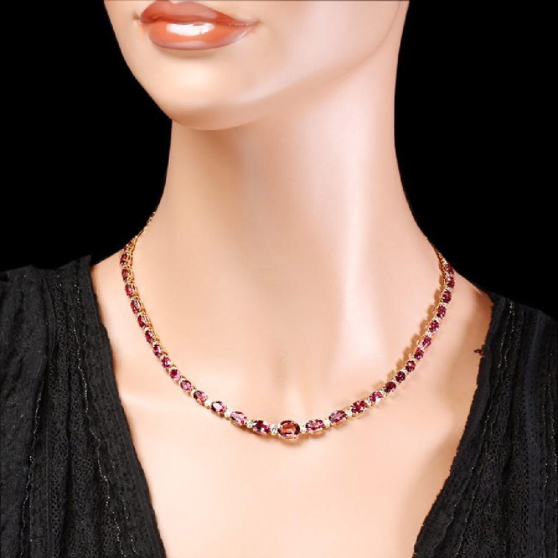 14k 26.10ct Tourmaline 1.60ct Diamond Necklace - 5