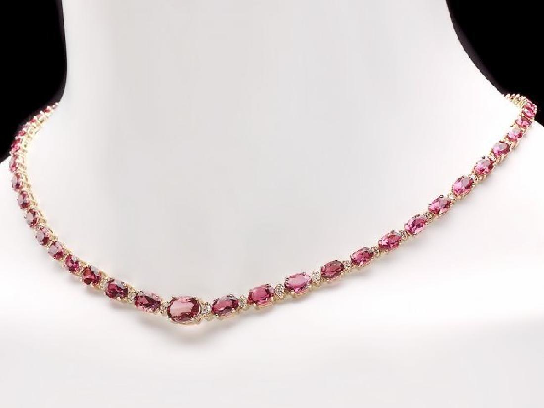 14k 26.10ct Tourmaline 1.60ct Diamond Necklace - 6