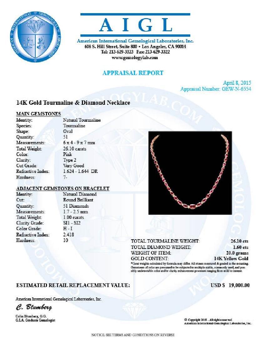 14k 26.10ct Tourmaline 1.60ct Diamond Necklace - 7