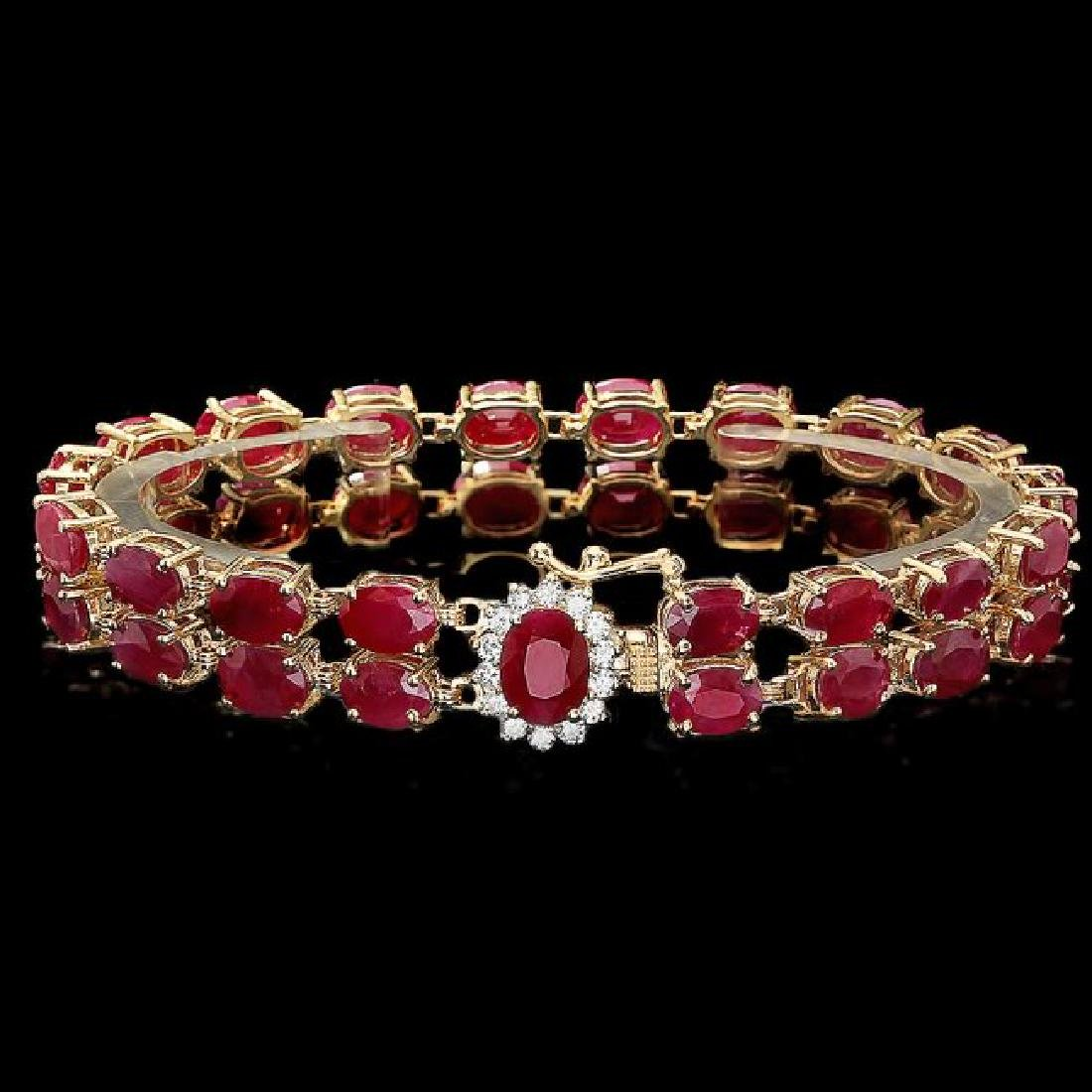 14k Yellow Gold 35ct Ruby 0.45ct Diamond Bracelet