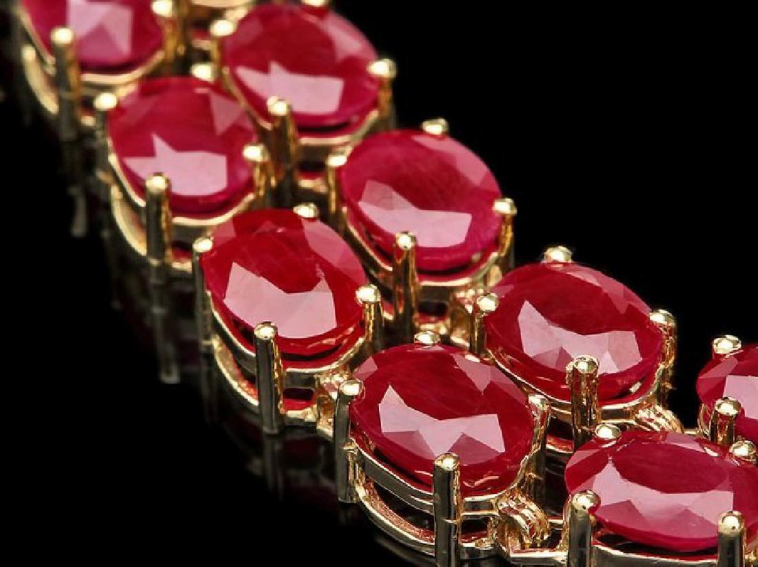 14k Yellow Gold 35ct Ruby 0.45ct Diamond Bracelet - 2