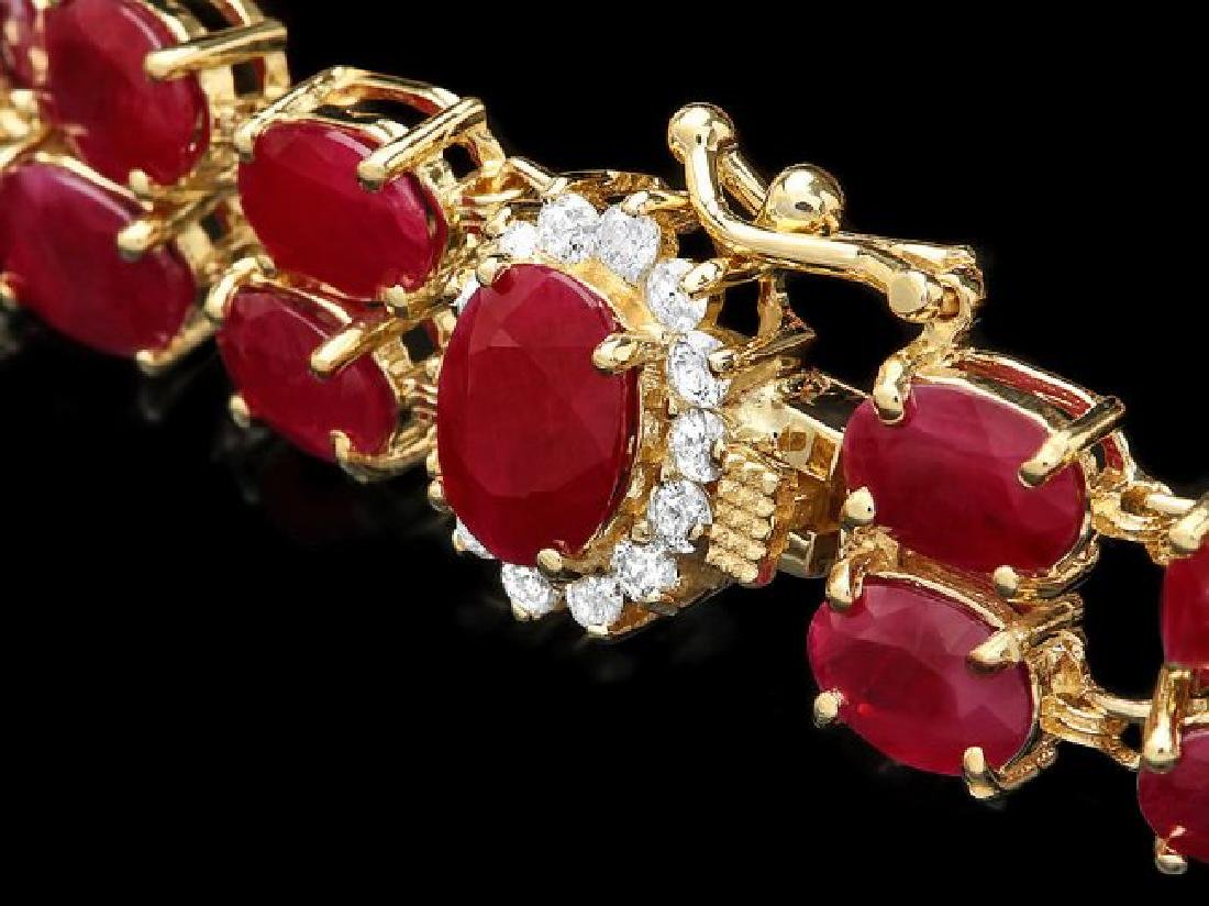 14k Yellow Gold 35ct Ruby 0.45ct Diamond Bracelet - 3