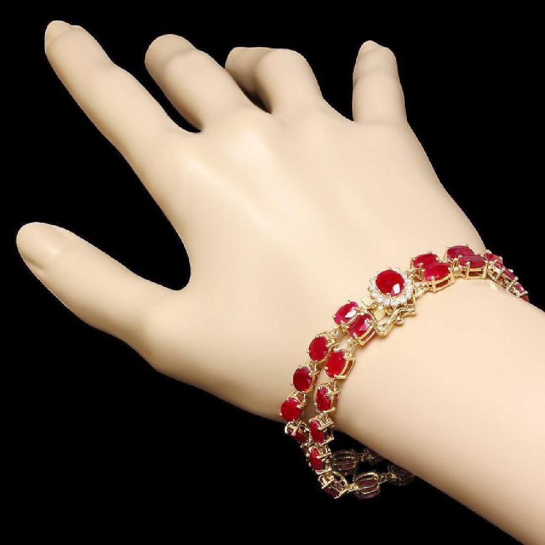 14k Yellow Gold 35ct Ruby 0.45ct Diamond Bracelet - 5