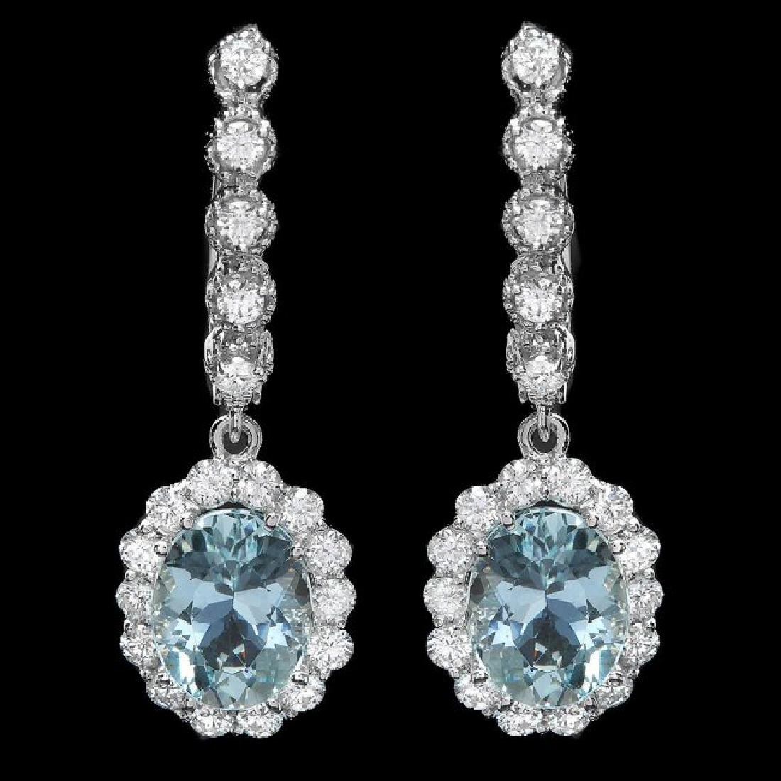 14k Gold 4ct Aquamarine 1.00ct Diamond Earrings