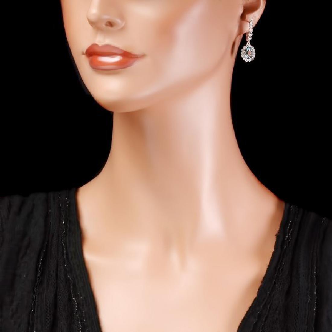 14k Gold 4ct Aquamarine 1.00ct Diamond Earrings - 4