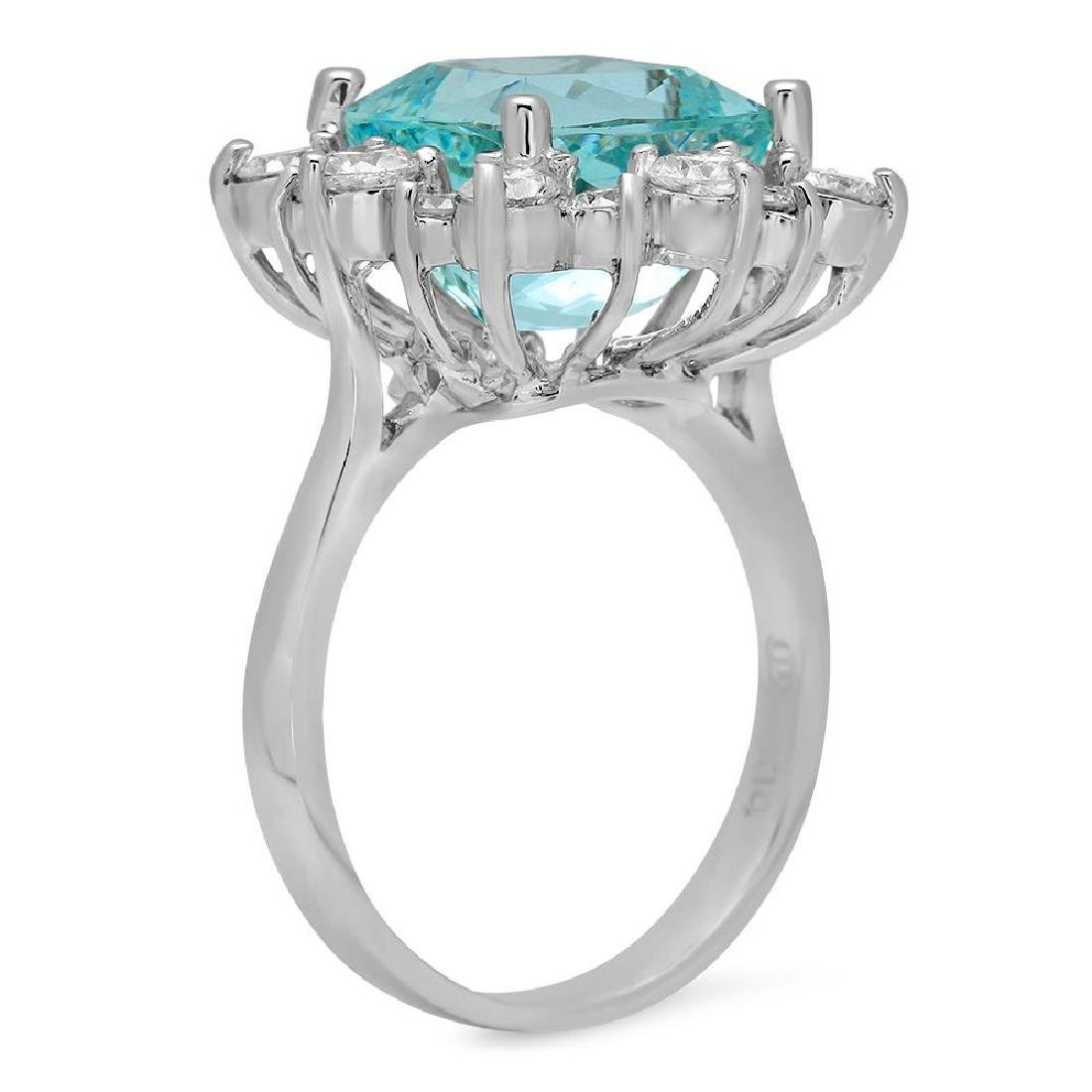 14K Gold 5.79ct Aquamarine 1.44ct Diamond Ring - 2
