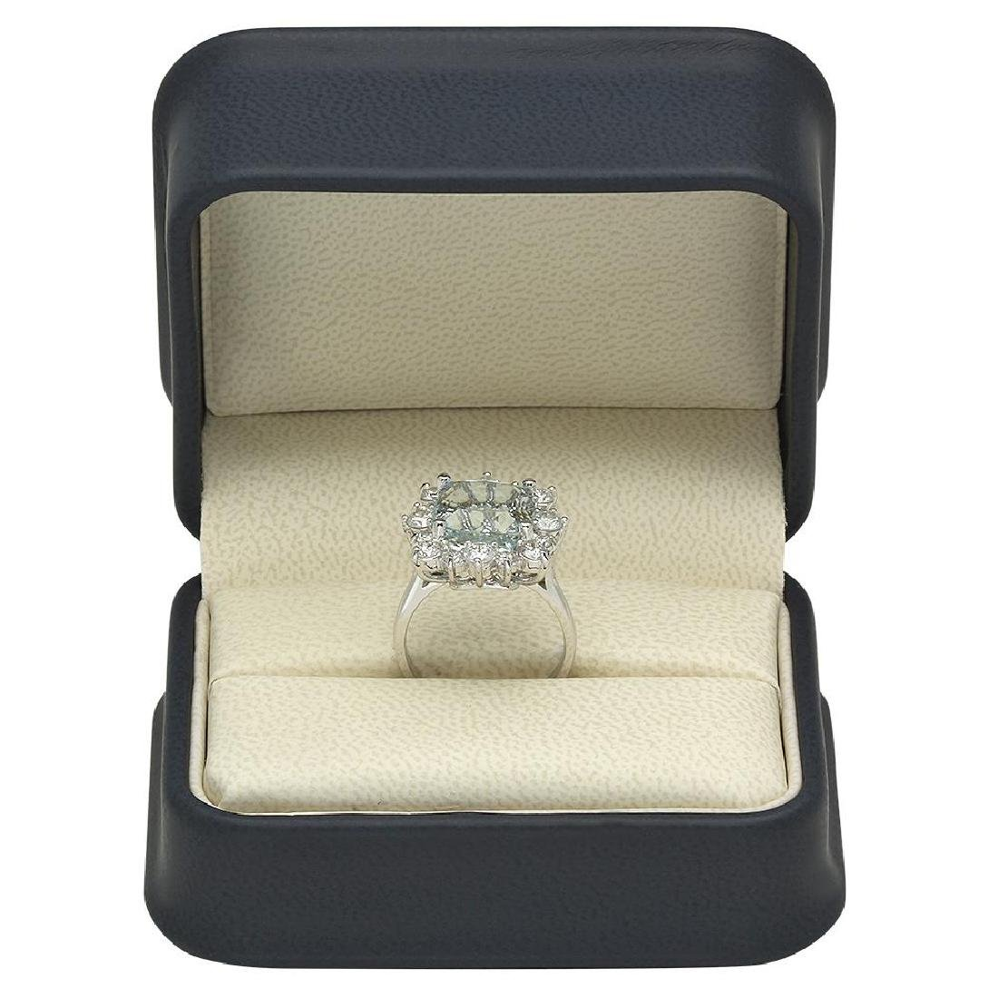 14K Gold 5.79ct Aquamarine 1.44ct Diamond Ring - 4