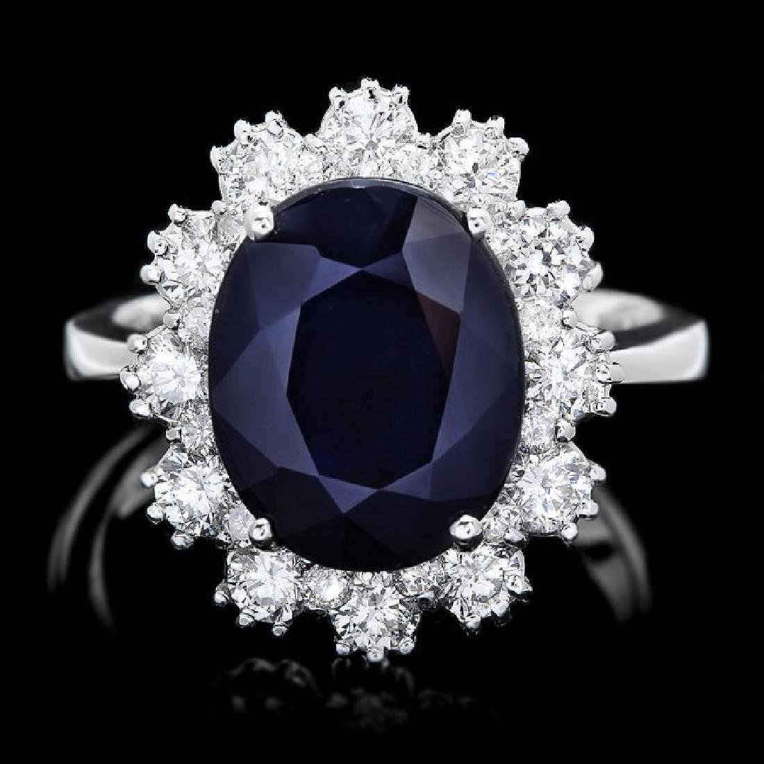14k Gold 6.50ct Sapphire 1.25ct Diamond Ring