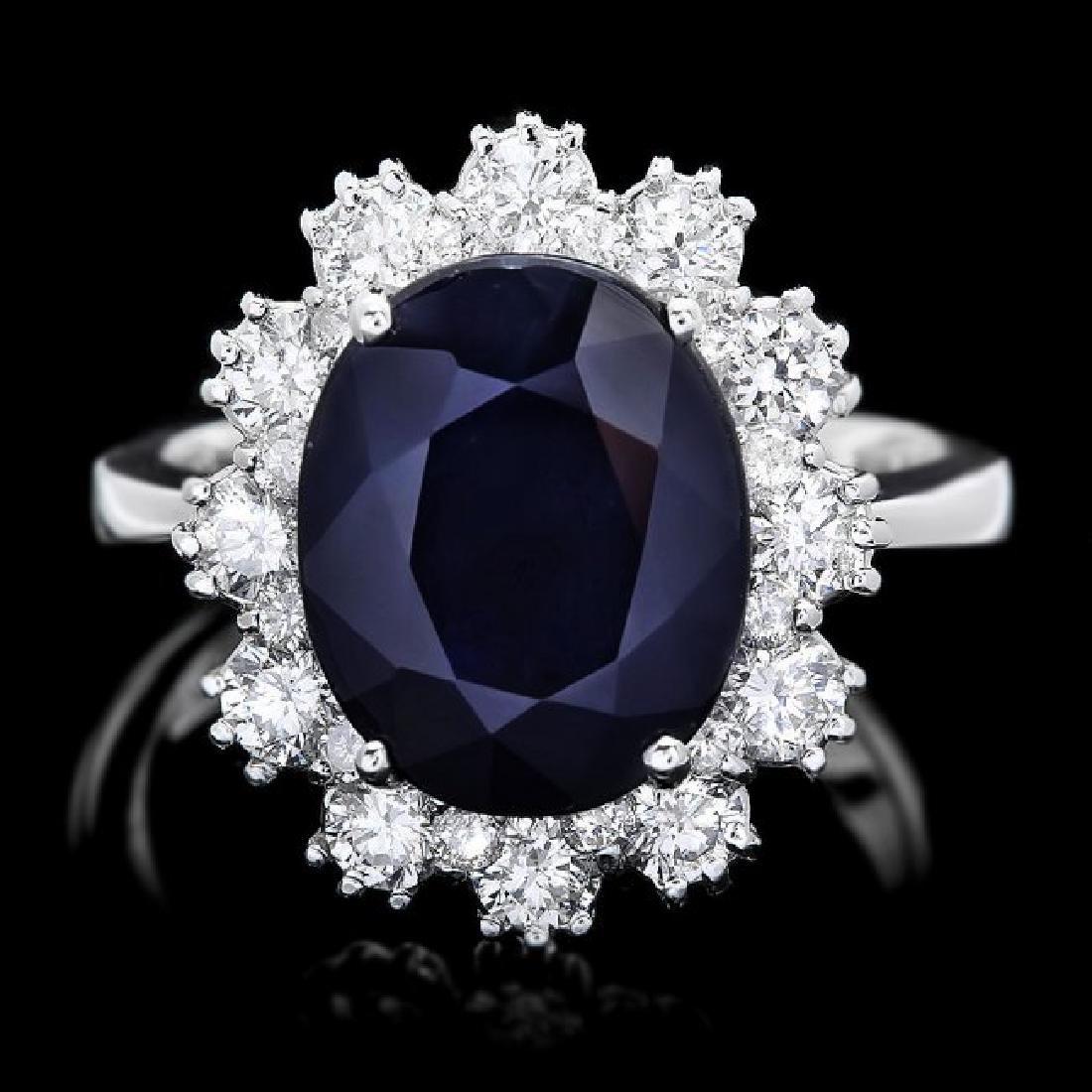 14k Gold 6.50ct Sapphire 1.25ct Diamond Ring