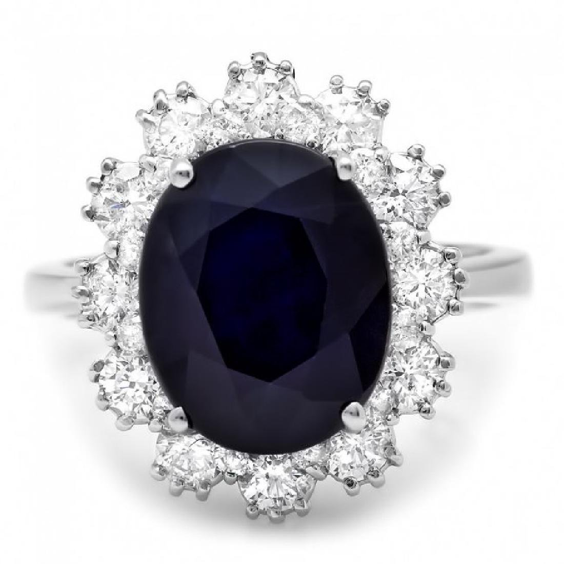 14k Gold 6.50ct Sapphire 1.25ct Diamond Ring - 2