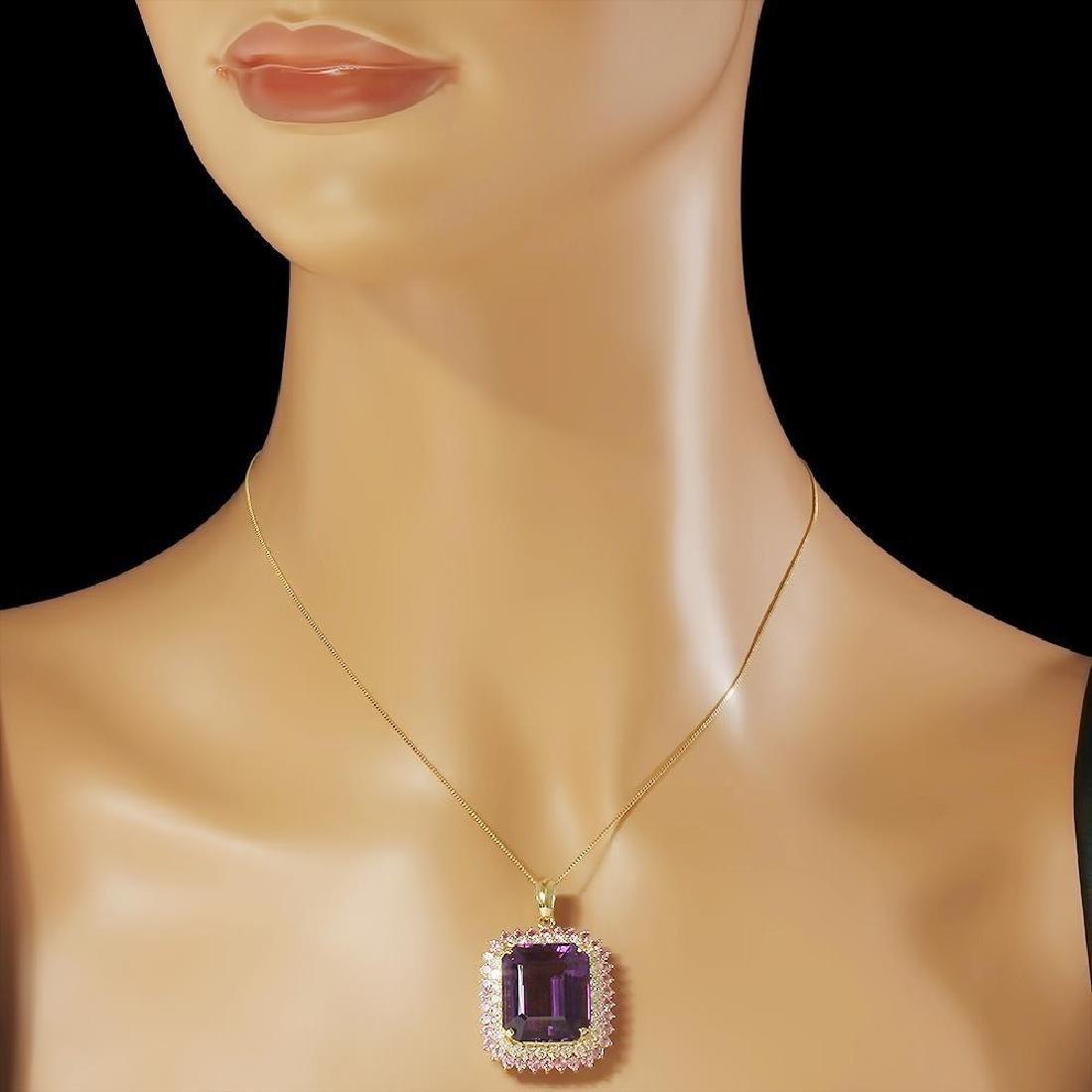 14K Gold 25.44ct Amethyst 2.03ct Sapphire 1.51ct - 3